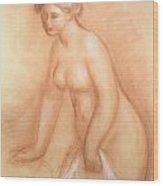 Large Bather Wood Print by Pierre Auguste Renoir