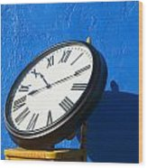 Large Clock On Yellow Chair Wood Print