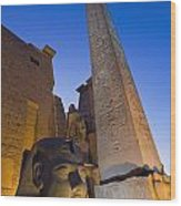 Large Pharaohs Head Statue And Obelisk Wood Print