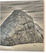 Large Rock On The Beach Wood Print