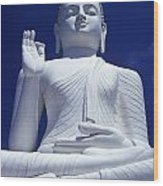Large Seated White Buddha Wood Print