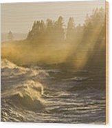 Large Waves Lightbeams Pemaquid Point Maine Wood Print