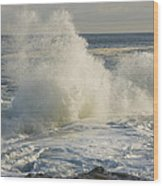 Large Waves On Rocky The Coast Maine Wood Print