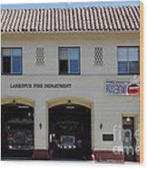 Larkspur Fire Department - Larkspur California - 5d18503 Wood Print by Wingsdomain Art and Photography