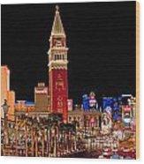 Las Vegas Canvas Panorama Wood Print