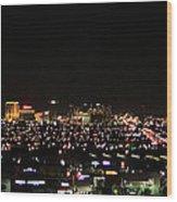 Las Vegas Nevada Nighttime Skyline Wood Print