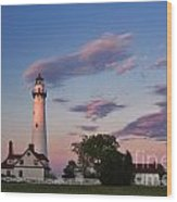 Last Light Of Day At Wind Point Lighthouse - D001125 Wood Print