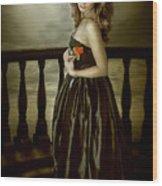 Last Red Rose Wood Print