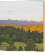 Late Light Mountains Wood Print