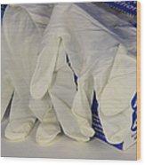 Latex Examination Gloves Wood Print
