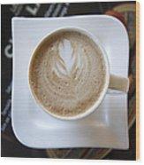 Latte With A Leaf Design Wood Print