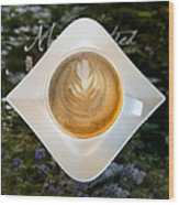 Latte With A Leaf Pattern Wood Print by Jaak Nilson