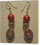 Laugh Often Love Much Red Earrings Wood Print by Jenna Green