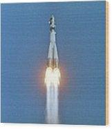 Launch Of Vostok 1 Spacecraft Wood Print