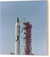 Launch View Of The Gemini-titan 3 Wood Print