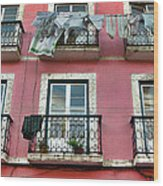 Laundry And A Pink Building  Lisbon Wood Print