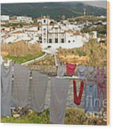 Laundry Day In Azores Wood Print