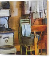 Laundry Drying In Kitchen Wood Print by Susan Savad