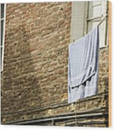 Laundry Hanging From Line, Tuscany, Italy Wood Print by Paul Edmondson