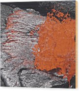 Lava Bursting At Edge Of Active Lava Wood Print