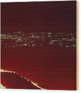 Lava Flow At Night Wood Print by Dr Juerg Alean