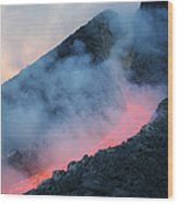 Lava Flowing From Base Of Hornito Wood Print