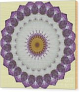 Lavender And Yellow Kaleidoscope Wood Print