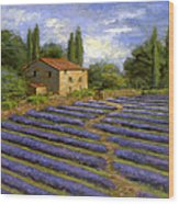 Lavender Fields In The Sun Wood Print