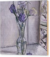 Lavender Flowers In A Glass Vase With Glass Block Window Wood Print