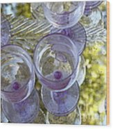 Lavender Wine Glasses Wood Print