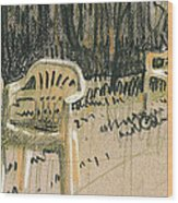 Lawn Chairs Wood Print by Donald Maier