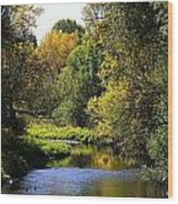 Lazy Autumn River Wood Print