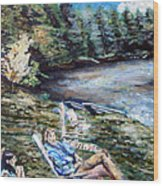 Lazy Day On The Mill Pond Wood Print
