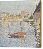 Le Clipper - Asnieres Wood Print by Paul Signac