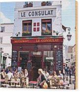 Le Consulat Cafe  Wood Print