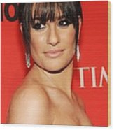 Lea Michele At Arrivals For Time 100 Wood Print