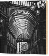 Leadenhall Market Black And White Wood Print