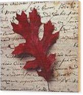 Leaf On Letter Wood Print