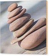 Leaned Pebble Tower Wood Print
