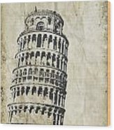 Leaning Tower Of Pisa On Old Paper Wood Print by Setsiri Silapasuwanchai