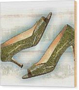 Leapin Green Lizards Pumps Wood Print