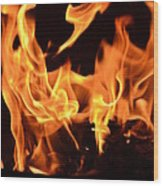 Leaping Flames Wood Print