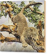 Leaping Leopard Wood Print