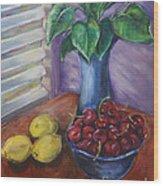 Leaves Cherries And Lemons Wood Print