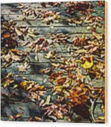 Leaves On The Boardwalk Wood Print