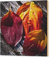 Leaves On The Deck Wood Print