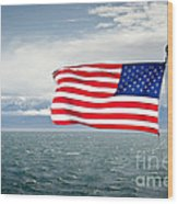 Leaving The Olympics Stars And Stripes On The Straits From The Olympic Mountains Wood Print