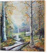 Leaving The Woodland Creek  Wood Print