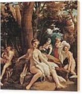 Leda With The Swan  Wood Print