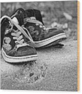 Left On The Curb Bw Wood Print